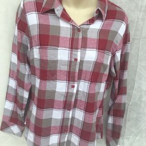 Red and white checkers flannel